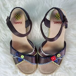 Camper Sandals Brown Leather Wedge Heel